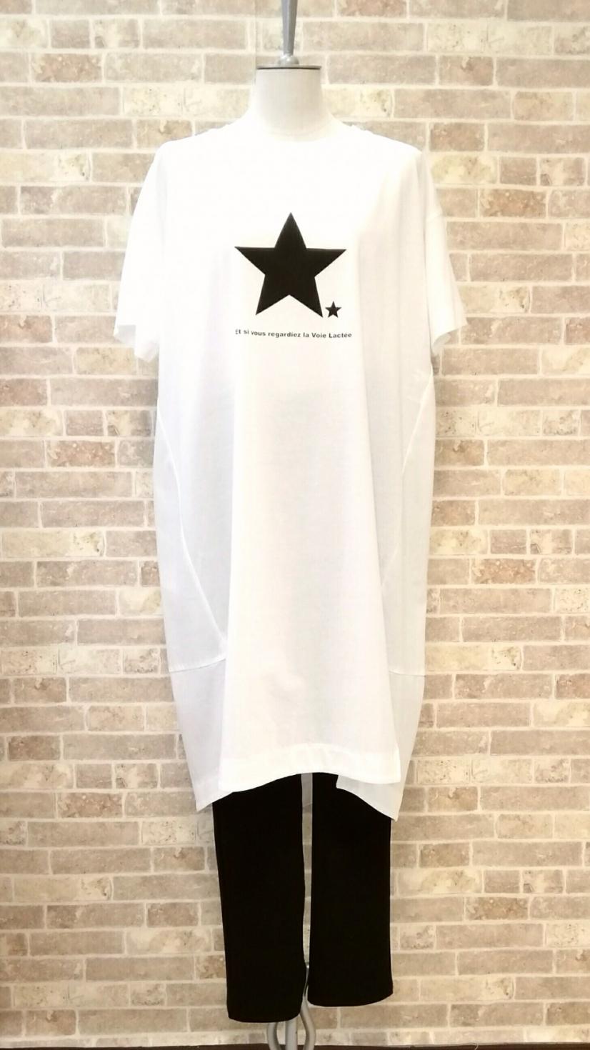 大人気‼ayane (アヤ-ン) ブラックスターが決め手のロングTシャツ入荷。