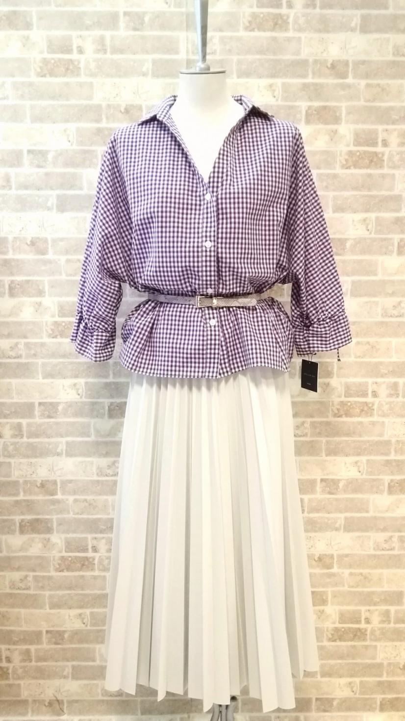 セモア.紫×白ギンガムチェックトップス~【売り切れ】